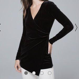 WHBM draped velvet tunic top blouse